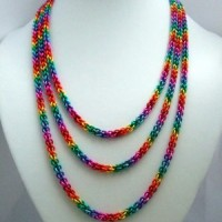 Three-stranded JPL rainbow necklace