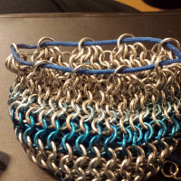 Small Blue and Silver Dice Bag