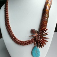 Flamed painted copper scale and GSG necklace